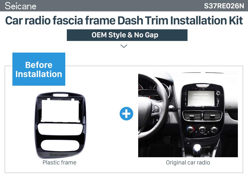 Seicane UV BLACK Frame For 9 inch 2017+ RENAULT CLIO Installation Kit Fascia Panel Trim OEM Style