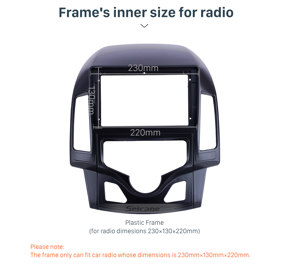 Seicane In Dash Black Frame For 9 inch 2008-2011 HYUNDAI I-30 LHD AUTO A/C OEM Style Fascia Panel Bezel Trim kit