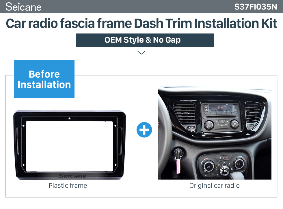 Seicane UV Black Frame 9 inch for 2012-2017 FIAT VIAGGIO/ 2014-2017 FIAT OTTIMO Audio Dash Trim Fascia Panel Kit