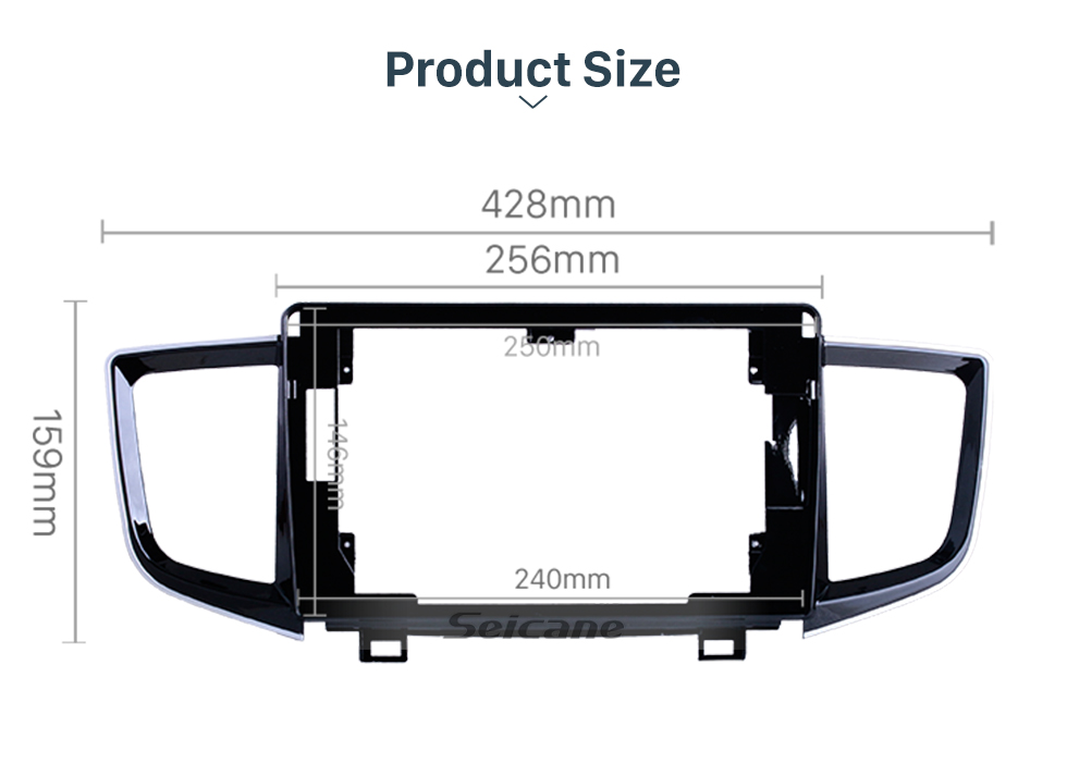 Seicane In Dash UV Black Frame For 10.1 inch 2016+ HONDA PILOT Fascia Panel Bezel Trim kit Cover Trim OEM Style