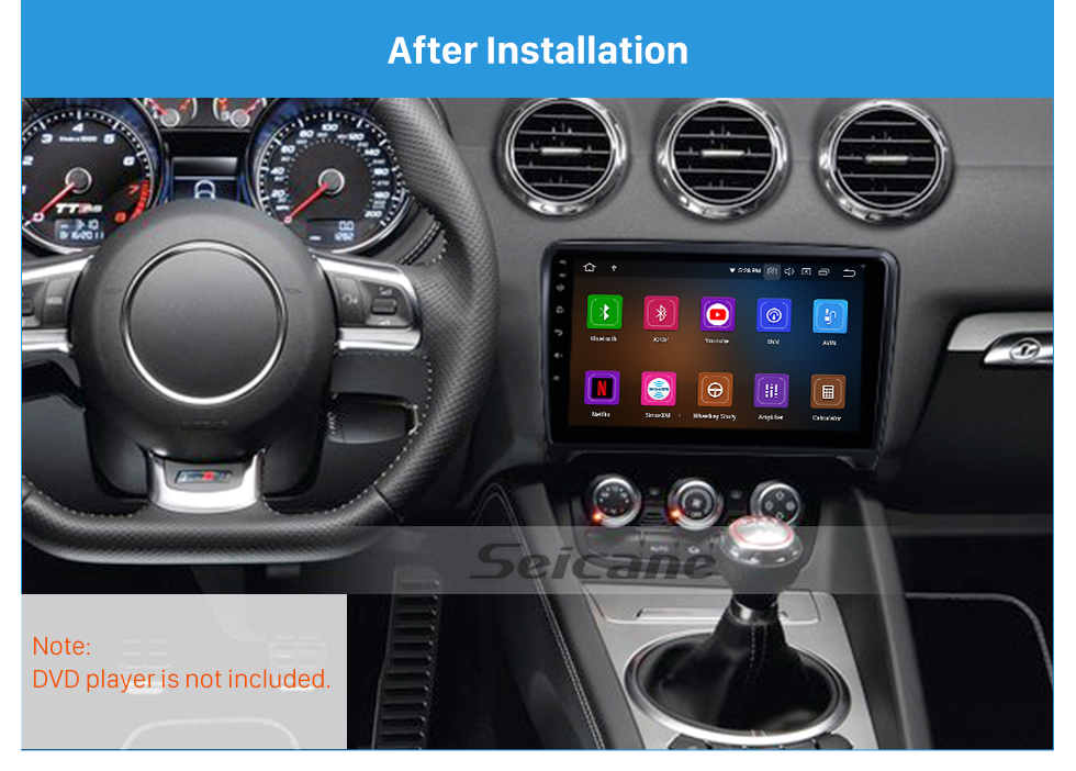Seicane In Dash For 9 inch 2000 AUDI TT Black Frame Fascia Panel Bezel Trim kit Cover Trim OEM Style