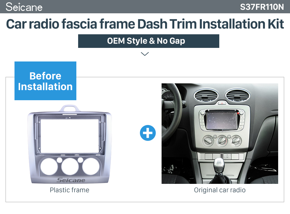 Seicane Double Din For 9 inch 2004-2011 FORD FOCUS Exi MT 2 3 Mk2/Mk3 MANUAL A/C Fascia Silver Frame Dash Mount Kit Trim Panel