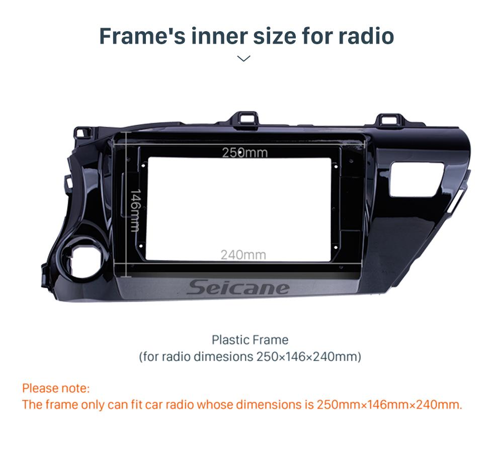 Seicane UV Black Frame for 10.1 inch 2016-2018 TOYOTA HILUX LHD Audio Dash Trim Fascia Panel Kit