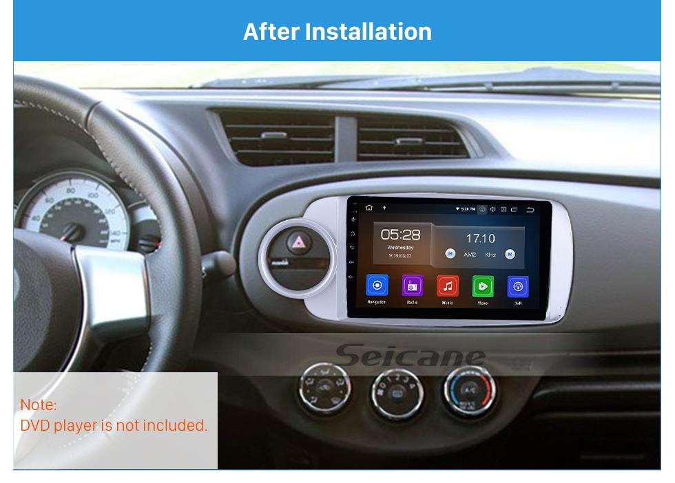 Seicane Fascia Silver Frame for 9 inch 2012 Toyota Yaris/Vitz Dash Mount Kit Trim Panel No gap