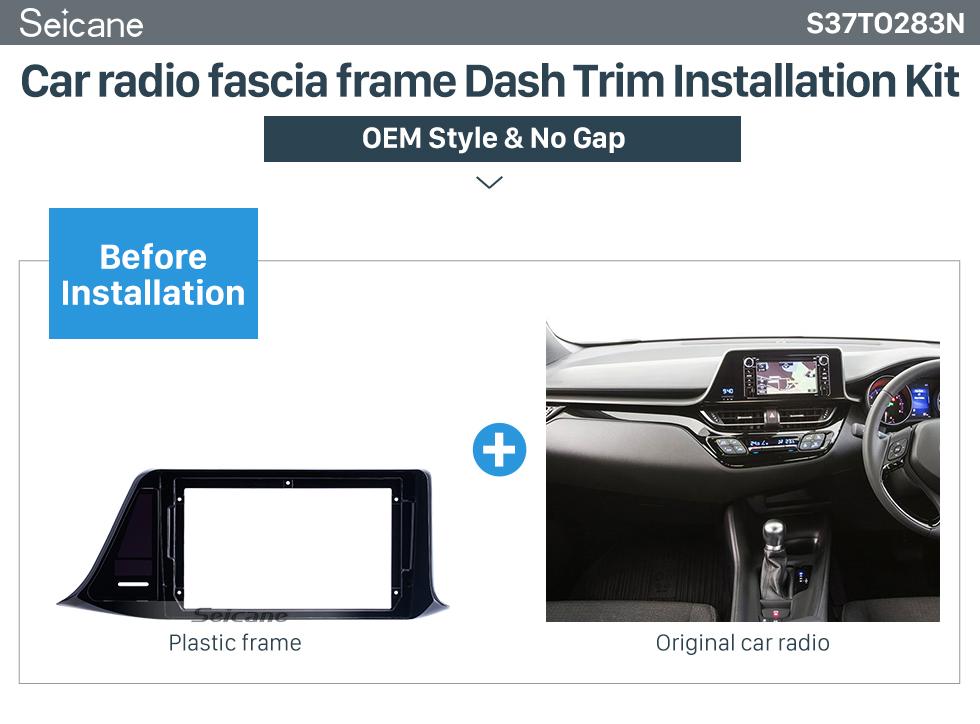 Seicane Black Frame for 9 inch 2018 Toyota IZOA/C-HR RHD Audio Dash Trim Fascia Panel Kit