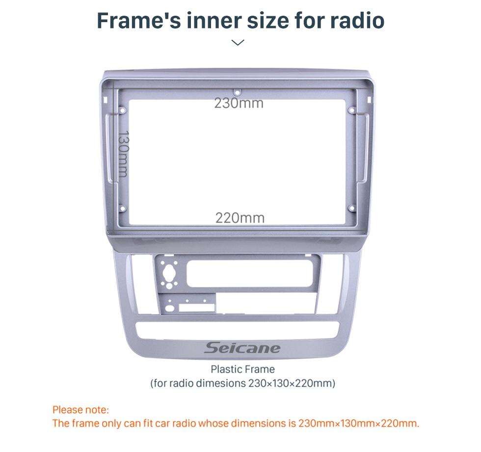 Seicane Fascia Silver Frame for 9 inch 2003-2007 Toyota Alphard RHD Dash Mount Kit Trim Panel No gap