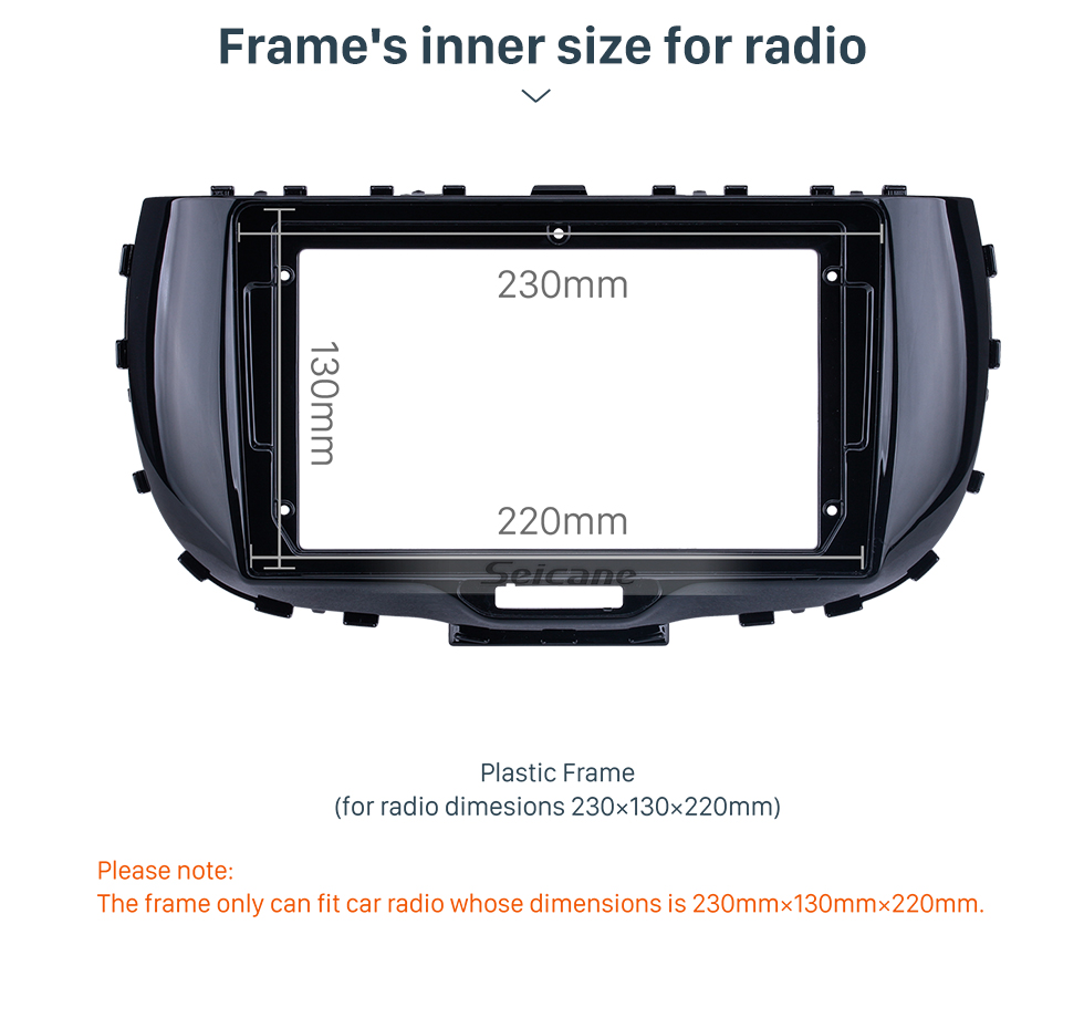 Seicane UV Black Frame for 9 inch 2019 Kia Soul Audio Dash Trim Fascia Panel Kit