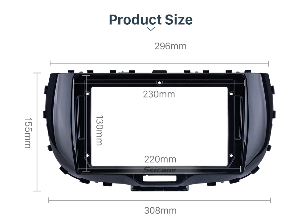 Seicane Quadro preto UV para 9 polegadas 2019 Kia Soul Audio Dash Trim Fascia Panel Kit