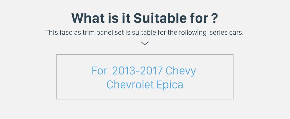 Seicane Cadre argent pour 9 pouces 2013-2017 Chevy Chevrolet Epica Audio Dash Trim Trim Fascia Panel Kit