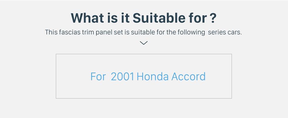 Seicane No Traço Quadro Preto Para 9 polegadas 2001 Honda Accord Fascia Painel Moldura Guarnição kit Tampa Guarnição Estilo OEM