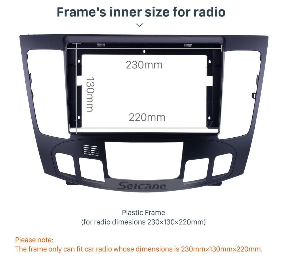 Seicane Fascia Black Frame for 9 pouces 2009-2010 Hyundai Sonata Nfc Dash Mount Kit Trim Panel No gap