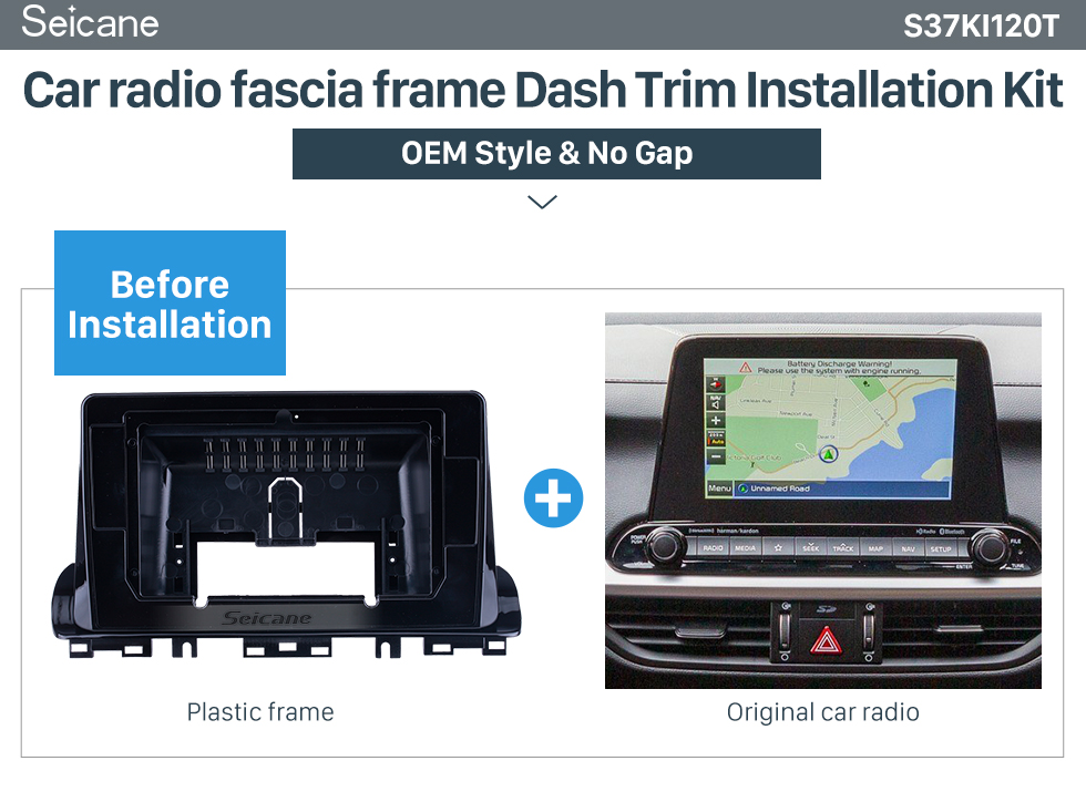 Seicane Quadro preto para 10,1 polegadas 2006 Toyota Wish Audio Dash Trim Fascia Panel Kit