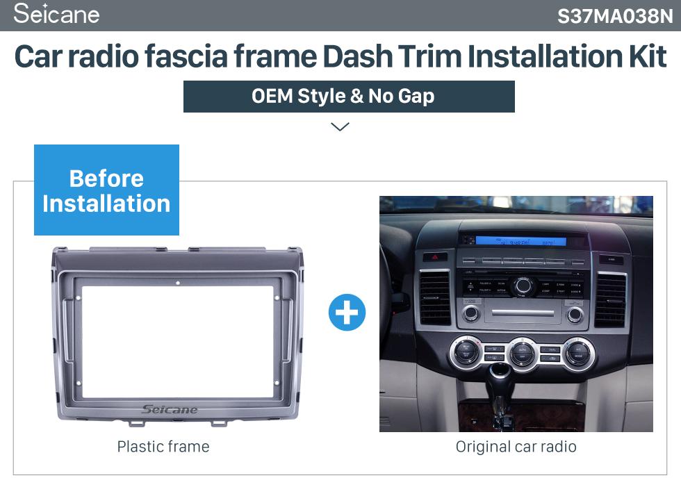 Seicane Double Din For 9 inch 2011 Mazda 8 Fascia Silver Frame Dash Mount Kit Trim Panel