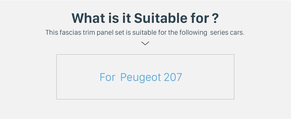 Seicane Cadre noir pour kit de panneau de bordure de tableau de bord audio Peugeot 207 9 pouces