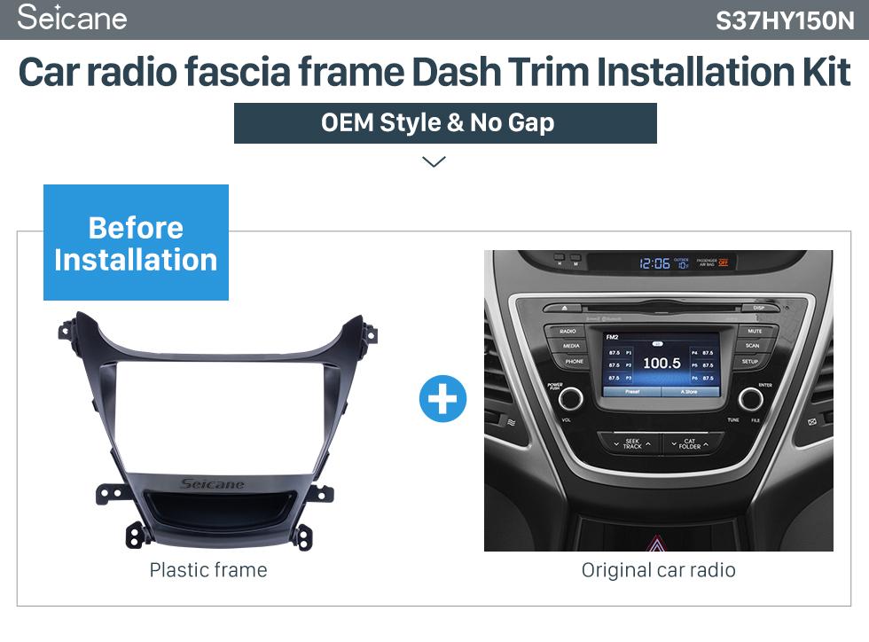 Seicane Fascia Black Frame for 9 inch 2014 Hyundai Elantra / I-35 RHD Dash Mount Kit Trim Trim Panel No gap