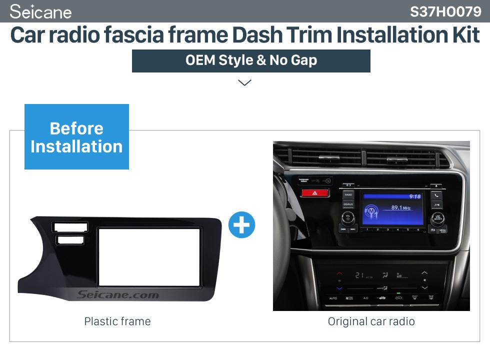 Car radio fascia frame Dash Trim Installation Kit Top Quality Double Din 2014 Honda City LHD Car Radio Fascia Refitting Kits DVD Frame panel Auto Stereo WITH SRS HOLE