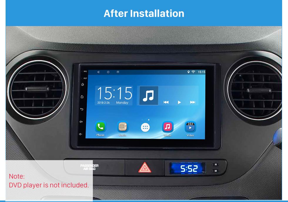 After Installation Superior Double Din 2017+ HYUNDAI I-10 Car Radio Fascia Surround Panel Stereo Frame Install CD Trim
