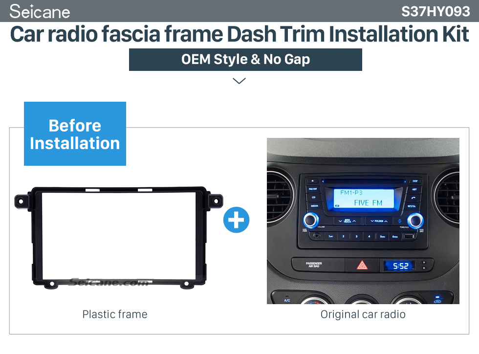 Car radio fascia frame Dash Trim Installation Kit Superior Double Din 2017+ HYUNDAI I-10 Car Radio Fascia Surround Panel Stereo Frame Install CD Trim