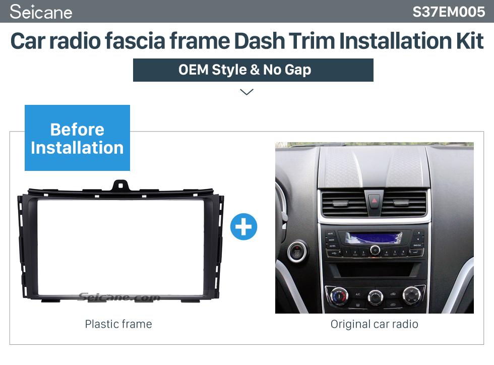 Seicane Black Double Din 2014 2015 2016 EMGRAND EC7 Car Radio Fascia In Dash Mount Kit Install Frame Audio Player