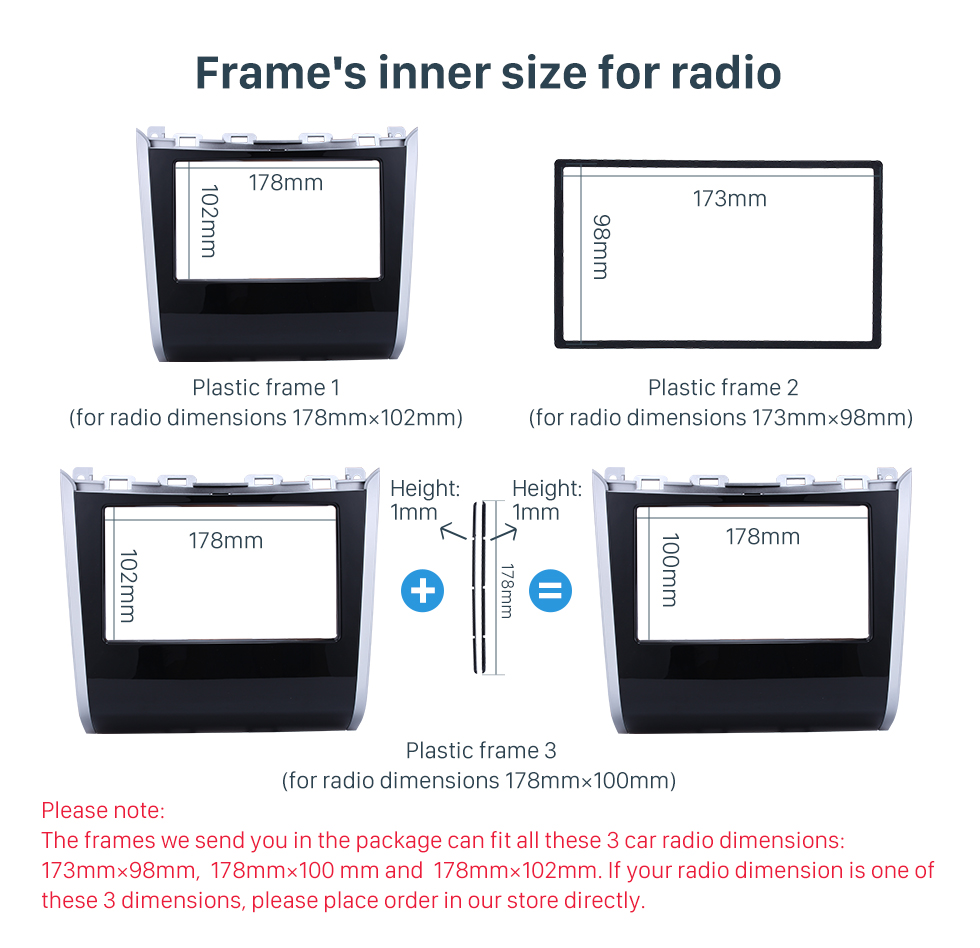 Frame's inner size for radio Double Din Car Radio Frame Plastic Fascia Dash Panel for 2013+ NISSAN PATHFINDER Install Dash Bezel Cover Trim Kit No gap