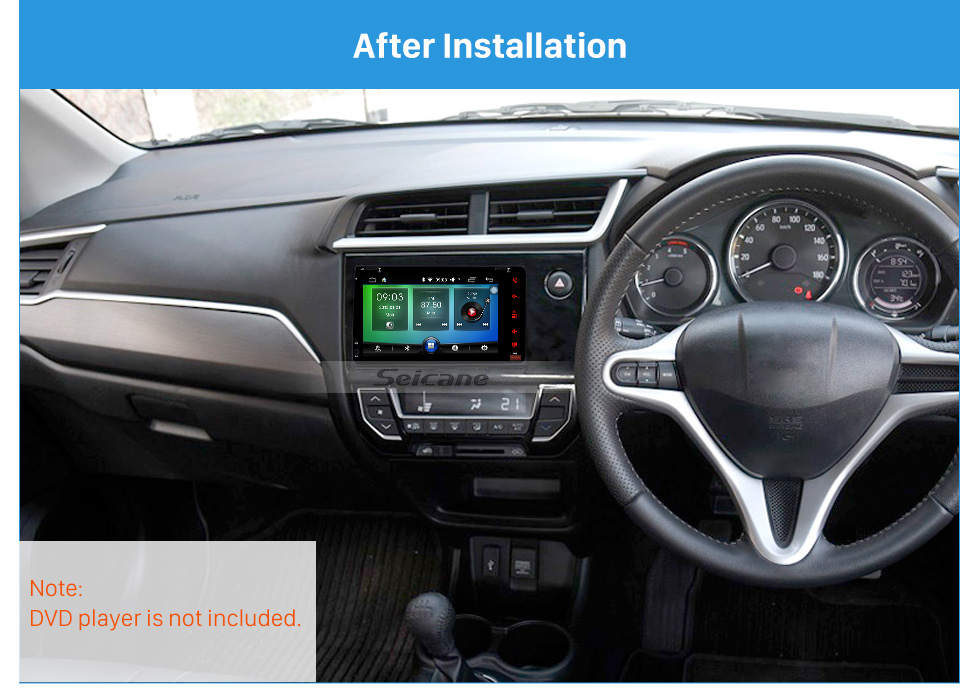 Seicane Double DIN UV BLACK Car Stereo Fascia Mount Kit Install Frame Dash Bezel Trim Kit For 2017+ HONDA BRV OEM style No gap