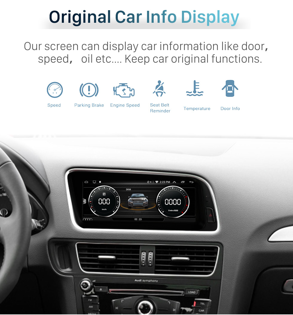 Seicane HD Touchscreen 12.3 inch for Audi Q5 2009-2017 Radio Android 10.0 GPS Navigation System with Bluetooth support Carplay TPMS