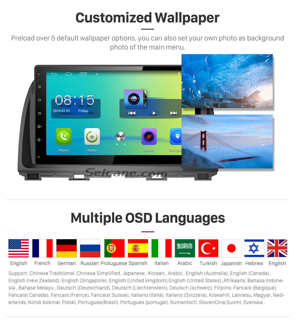 Customized Wallpaper 10.1 inch 2016 Peugeot 308 Android 6.0 Radio GPS Navigation system Support Canbus Bluetooth Music USB 1080P Video 3G WIFI OBD2 Mirror Link Rearview