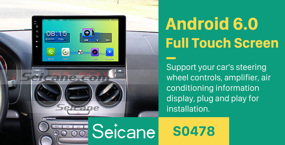 Seicane 10.1 inch HD Touch Screen Android 6.0 Radio for 2003-2008 Old Mazda 6 with GPS Navigation Audio system 1080P Video Bluetooth Music 3G WIFI USB OBD2 Mirror Link