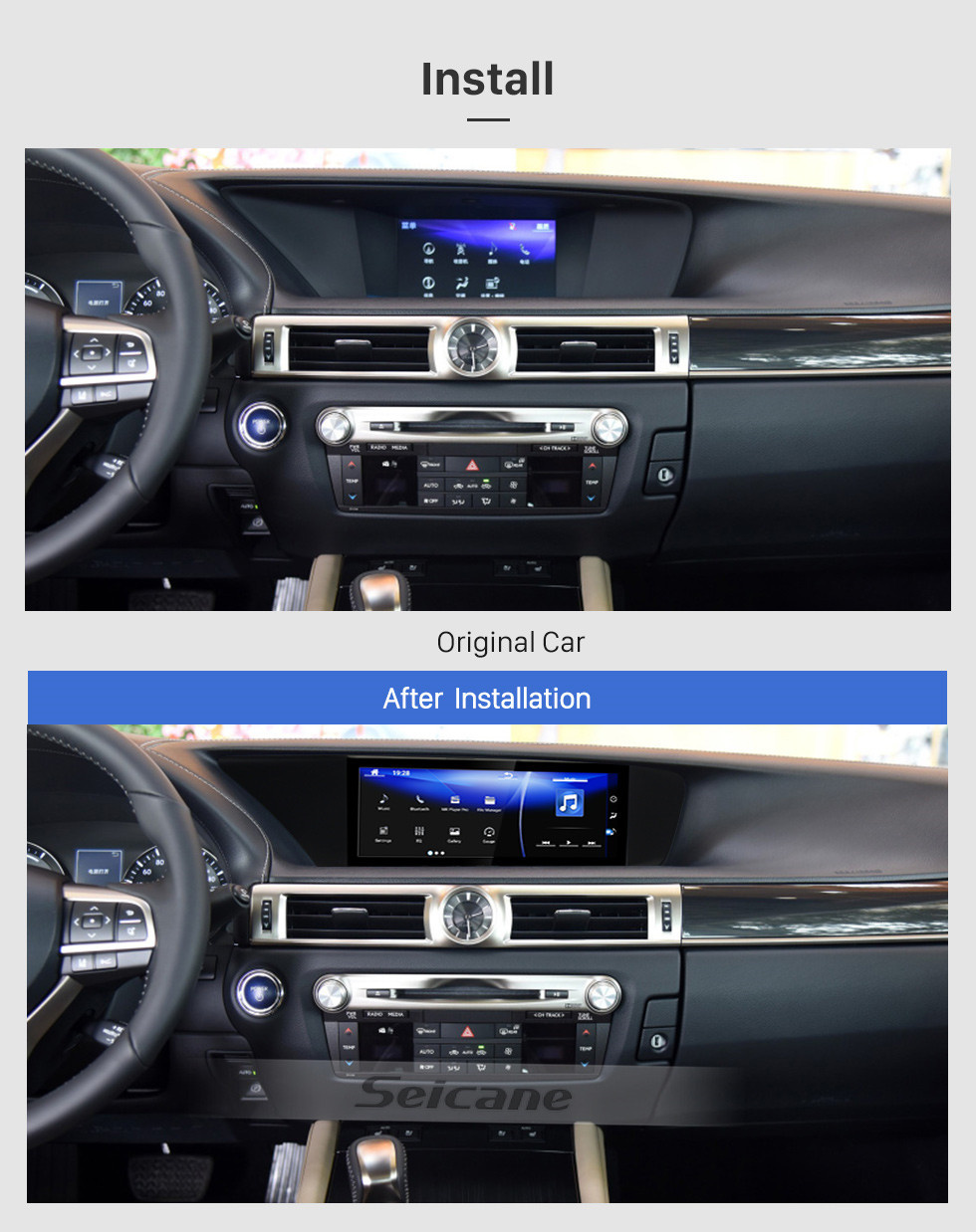 Seicane 12.3 inch for 2014 2015 2016 2017 LEXUS GS Radio Android 7.1 With GPS Navigation HD Touchscreen Bluetooth support Carplay Backup camera