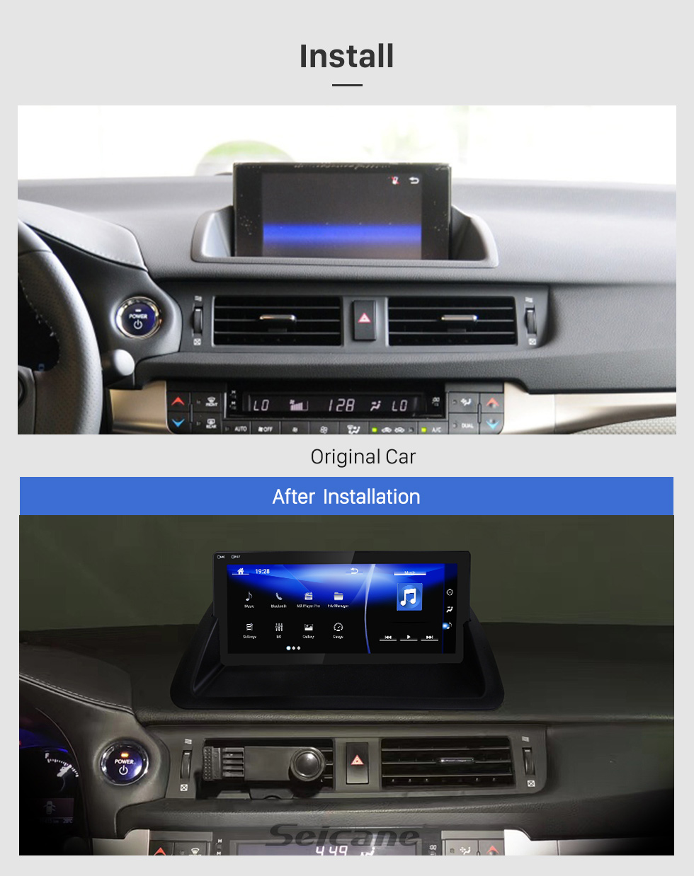 Seicane For 2011 2012 2013 2014 2015 2016 2017 2018 2019 Lexus CT200 High Version Android 7.1 HD Touchscreen 10.25 inch GPS Navigation Radio with Bluetooth USB support Carplay SWC DVR