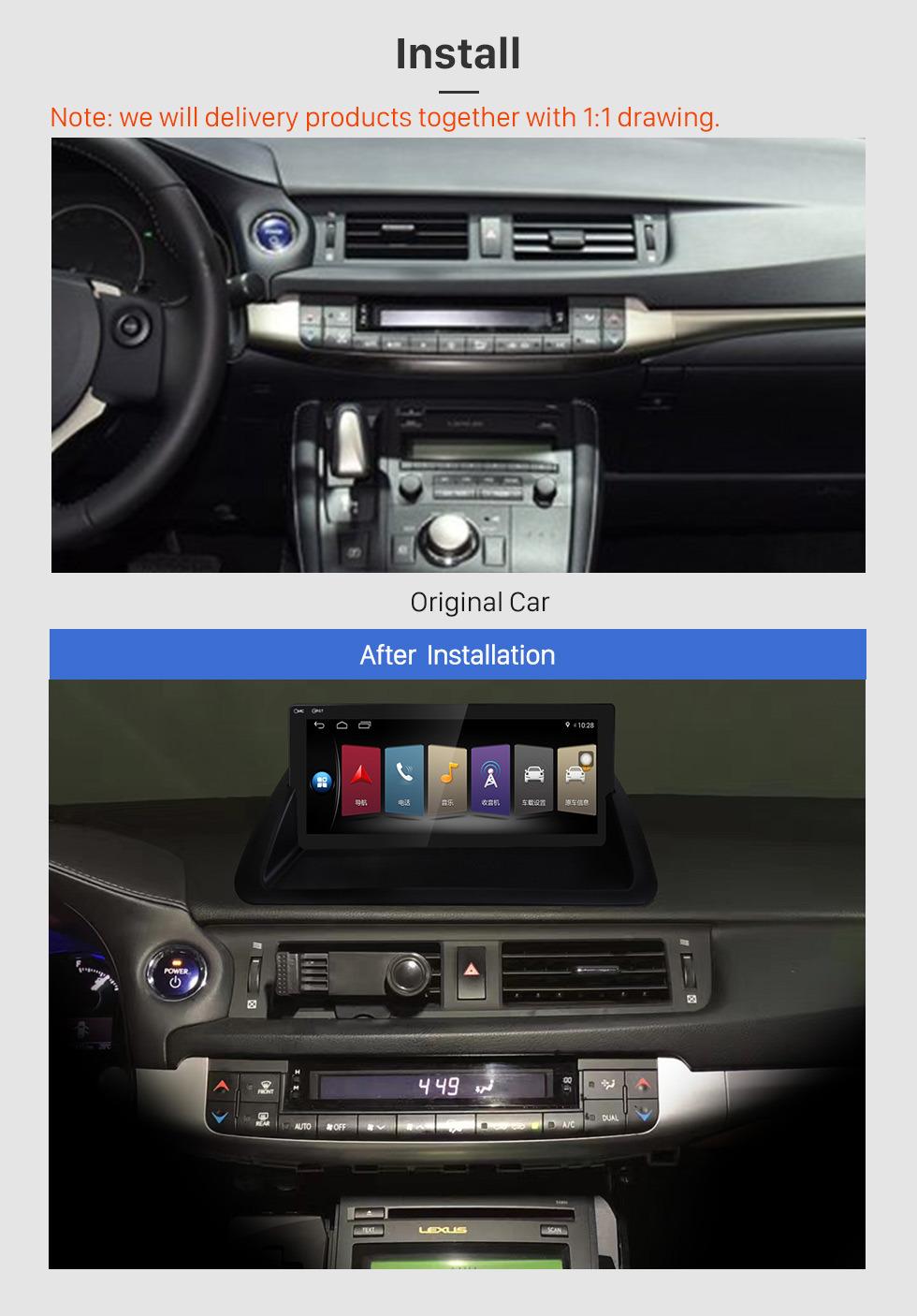 Seicane 10,25 polegadas para 2011 2012 2013 2014 2015 2016 2017 2018 2019 Lexus CT200 Versão Baixa GPS Navigation Radio Android 8.0 Com HD Touchscreen Suporte Bluetooth Carplay TV Digital