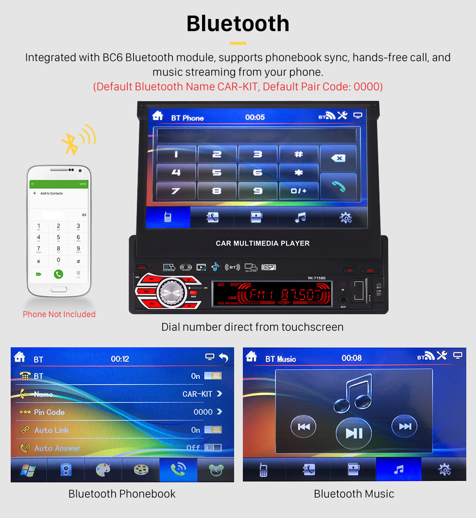 Bluetooth 7 inch Auto Retractable Touchscreen 1 Din Universal Radio GPS Navigation system Support DVD Player MP5 USB SD Bluetooth