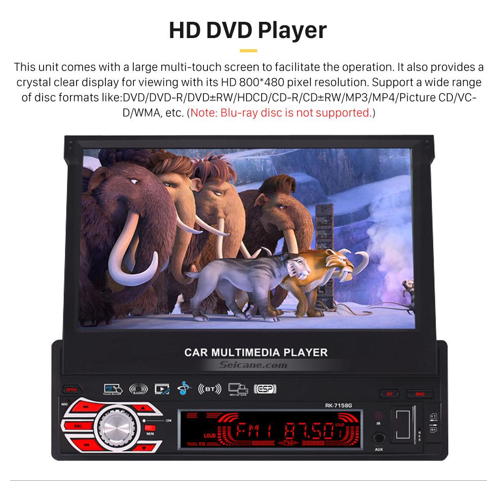 HD DVD Player 7 pouces Auto Retractable Touchscreen 1 Din Universal Radio Système de navigation GPS Support Lecteur DVD MP5 USB SD Bluetooth