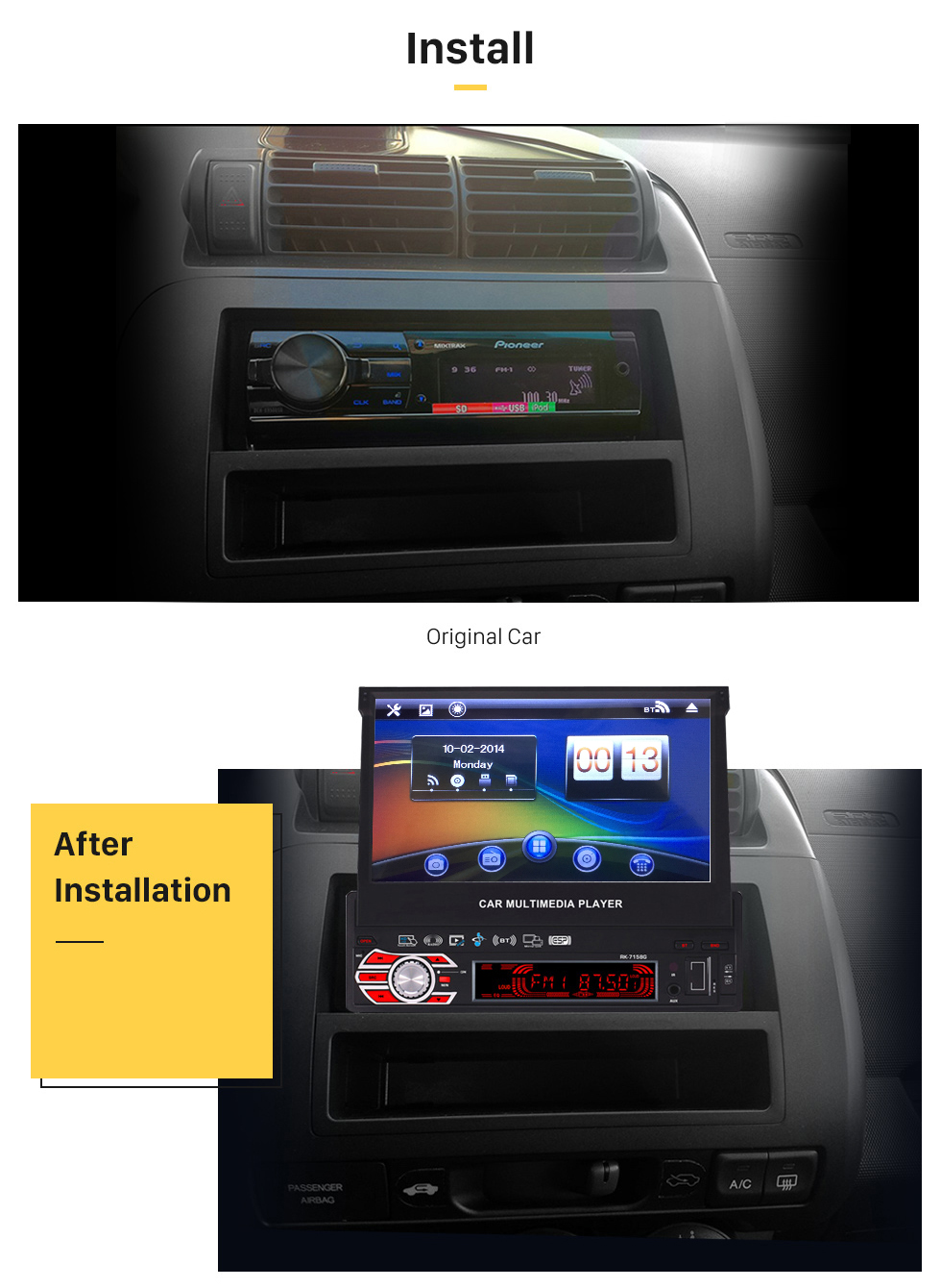 Install 7 inch Auto Retractable Touchscreen 1 Din Universal Radio GPS Navigation system Support DVD Player MP5 USB SD Bluetooth