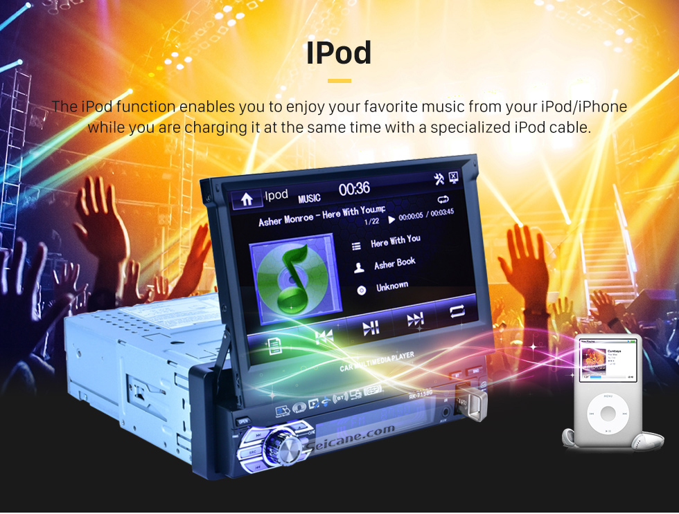 IPod 7 inch Auto Retractable Touchscreen 1 Din Universal Radio GPS Navigation system Support DVD Player MP5 USB SD Bluetooth