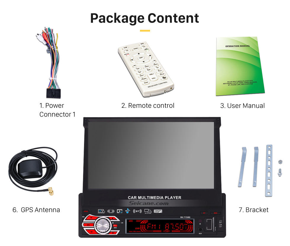 Package Content 7 inch Auto Retractable Touchscreen 1 Din Universal Radio GPS Navigation system Support DVD Player MP5 USB SD Bluetooth