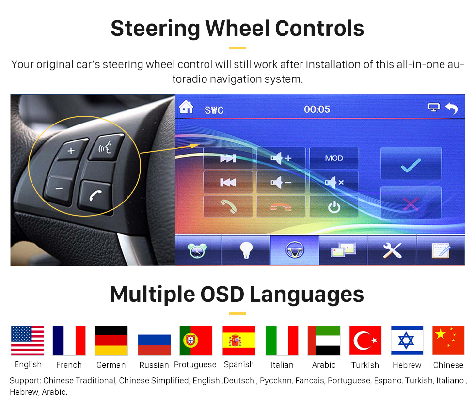 Steering Wheel Controls 7 inch Auto Retractable Touchscreen 1 Din Universal Radio GPS Navigation system Support DVD Player MP5 USB SD Bluetooth
