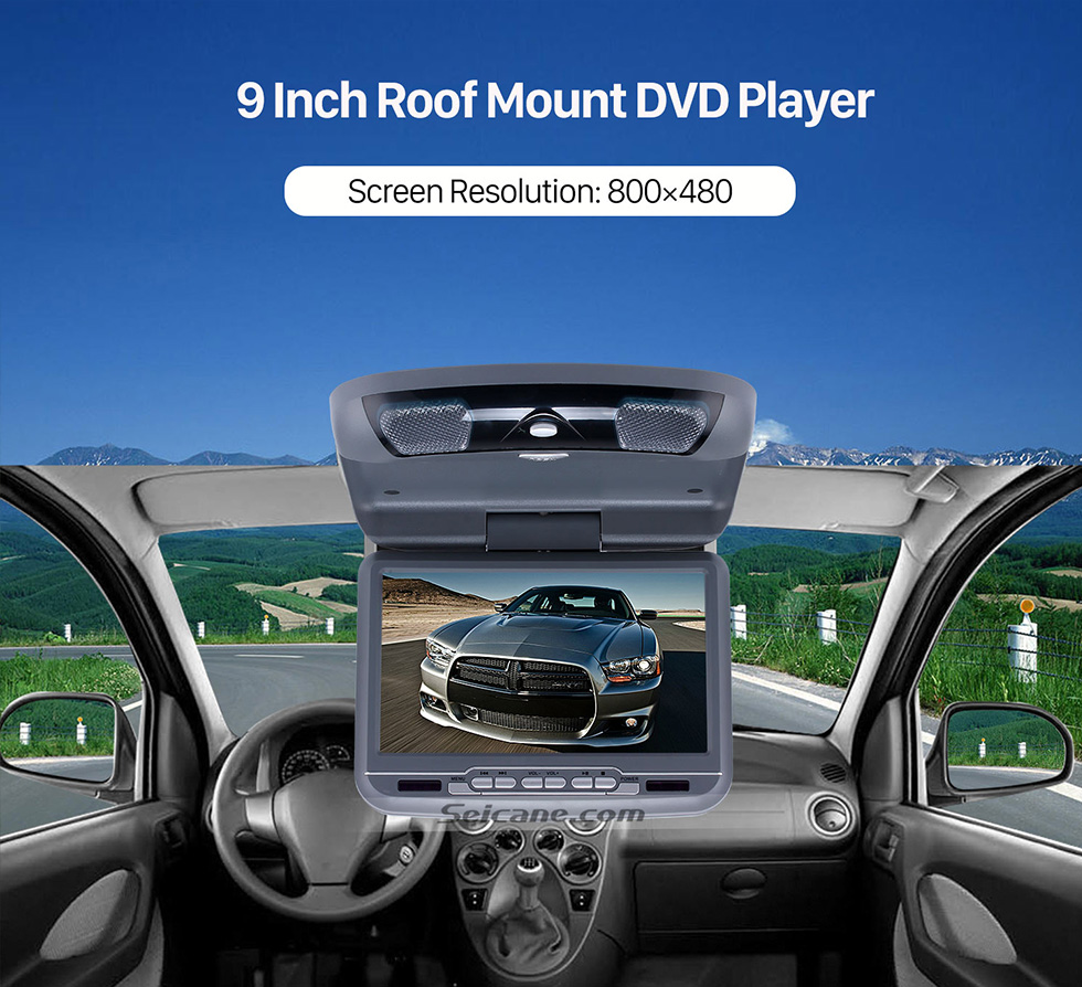 Seicane Roof Mount DVD Player 9 inch with FM USB SD Games