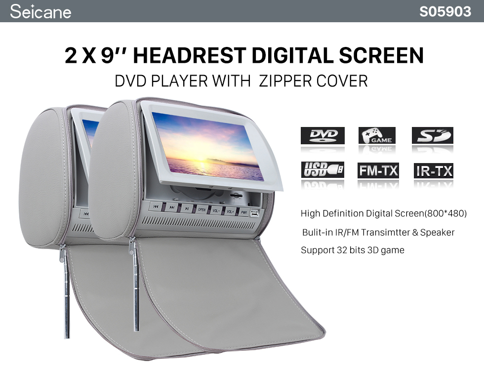 Seicane Headrest DVD Player 9 inch 800*480 with FM Games and Zipper Cover(1 Pair)
