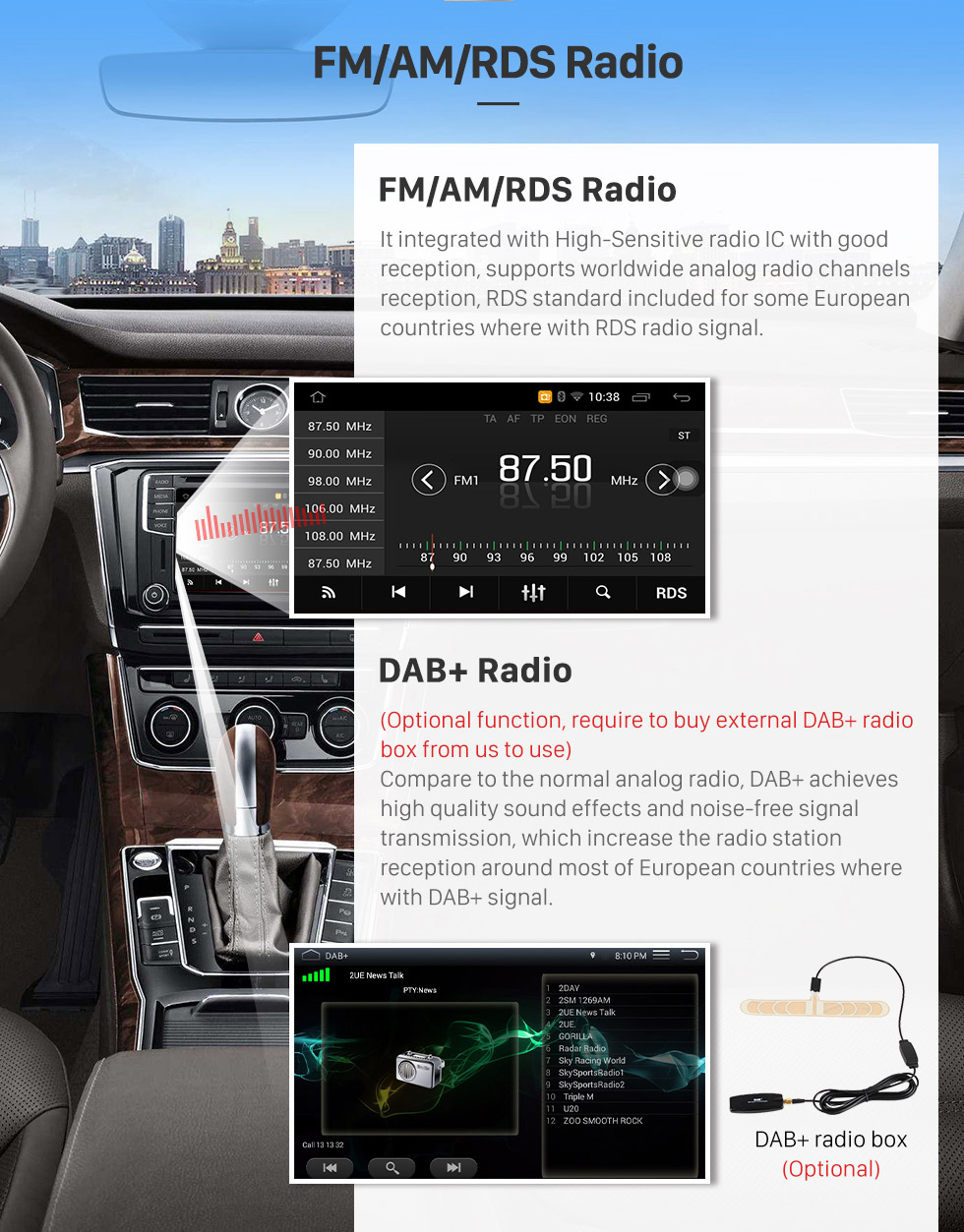 Seicane Android 6.0 Autoradio GPS für 2014 Hyundai Elantra mit DVD-Radio WiFi Fernsehapparat Bluetooth Touch Screen DVR OBD Spiegel Link-Rückfahrkamera Video
