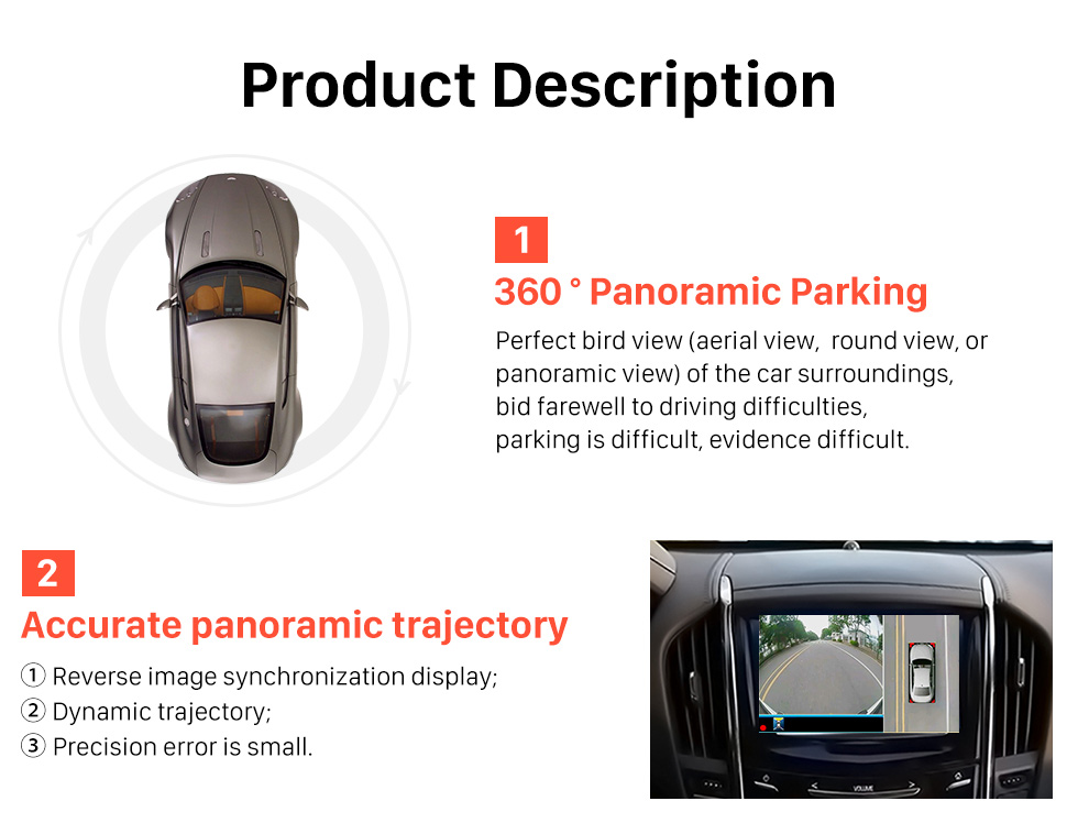Seicane Universal 360°Surround View Car Parking Assistant System with 4 180°Cameras 2D Display Backup Reverse Assistance Car Kit Parking System