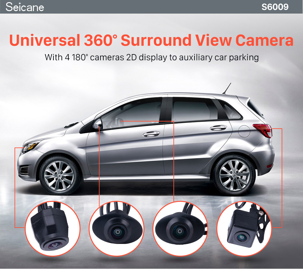 Seicane Universal 360 ° Surround View Sistema de Assistente de estacionamento com 4 câmeras de 180 ° 2D Display Backup Reverse Assistance Car Kit Sistema de estacionamento