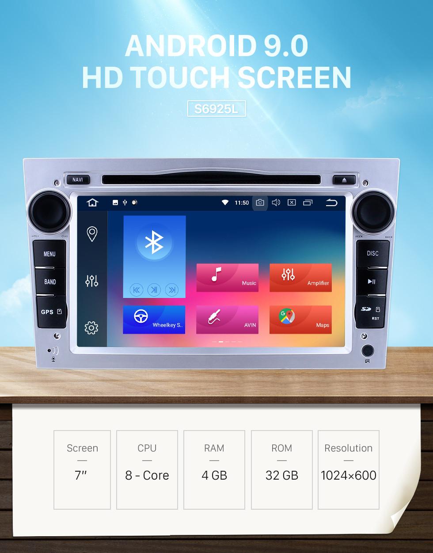 Seicane HD 1024*600 Pantalla táctil Android 9.0 2005-2011 Opel Zafira Multimedia GPS Radio estéreo reemplazo con Reproductor CD DVD Bluetooth OBD2 cámara de reserva Vínculo espejo 3G WiFi HD 1080P vídeo