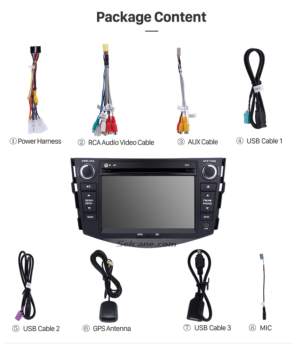 Seicane Android 7.1 Aftermarket Head unit for 2006-2012 TOYOTA RAV4 with HD Touchscreen 1024*600 Radio RDS GPS Navigation System Bluetooth WiFi Mirror Link Steering Wheel Control