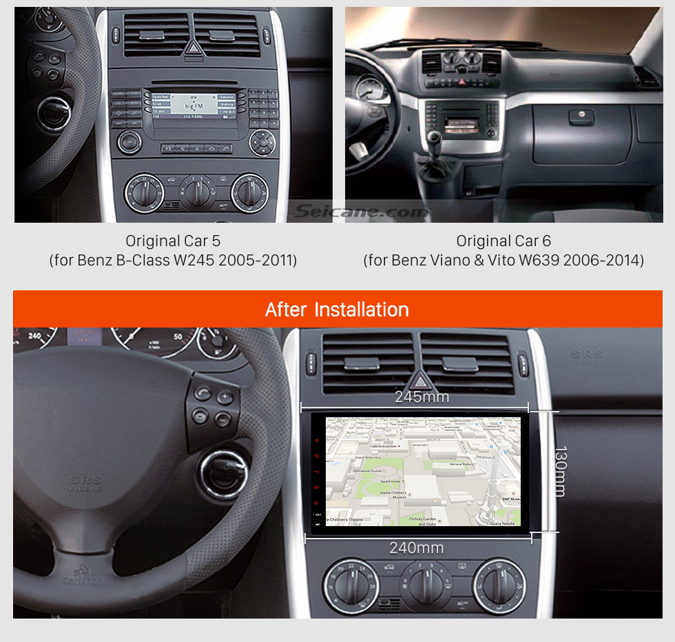 Seicane 9 inch 2006-2012 Mercedes Benz Viano Vito Android 7.1 Radio GPS Navigation System with WiFi AUX Mirror Link OBD2 Bluetooth USB SD Steering Wheel Control