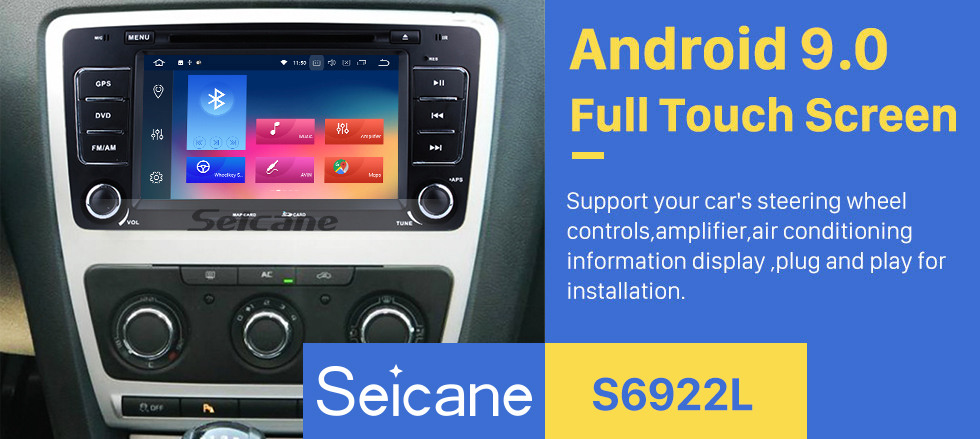 Seicane Android 9.0 Radio GPS Navigation System for 2005-2008 2013-2016 SKODA OCTAVIA with DVD Player Bluetooth Touch Screen 3G WiFi Mirror Link OBD2 Video DVR AUX Rearview Camera