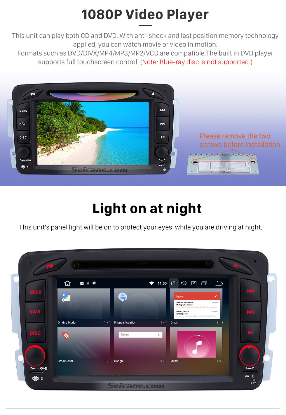 Seicane 2000-2005 Mercedes Benz C Class W203 C180 C200 C220 C230 Android 9.0 Sat Nav In Dash Radio Stereo with Bluetooth DVD Mirror Link OBD2 3G WiFi HD 1024*600 Multi-touch Screen