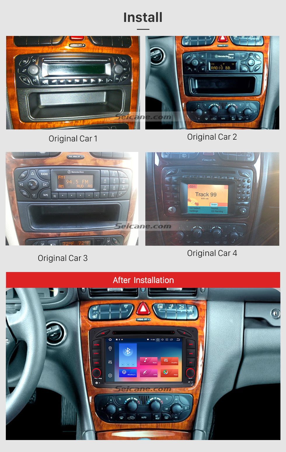 Seicane OEM Android 9.0 Car Stereo DVD GPS System for 1998-2002 Mercedes Benz A Class W168 A140 A160 A170 A190 with 3G WiFi Radio RDS Bluetooth Mirror Link OBD2 Rearview Camera