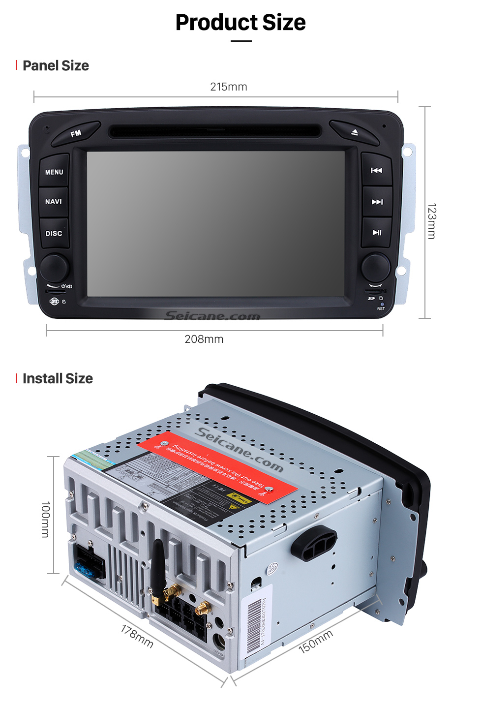 Seicane Double Din Android 8.0 Bluetooth DVD In Dash GPS Stereo for 2004 2005 2006 Mercedes Benz Viano Vito with 3G WiFi Radio Tuner Mirror Link OBD2 HD 1024*600 Multi-touch Screen