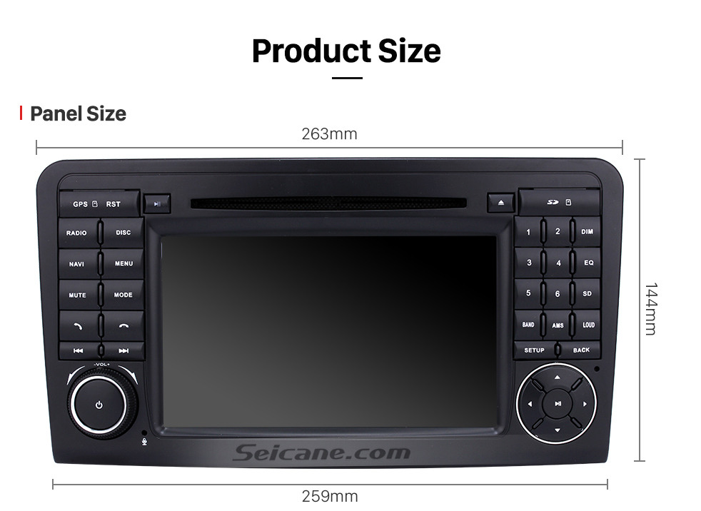 Seicane 7 inch Multi-touch screen Android 9.0 Radio DVD Player GPS Navigation system for 2005-2012 Mercedes Benz GL CLASS X164 GL320 with Bluetooth USB SD WIFI Canbus 1080P Video Mirror Link